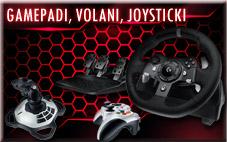Gamepadi, volani, joysticki